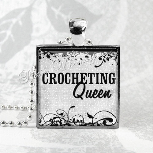 CROCHETING QUEEN Square Glass Bezel Pendant Necklace with 24 Inch Necklace Chain