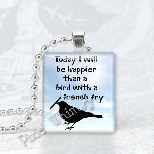 BIRD with FRENCH FRY  Scrabble Tile Art Pendant Charm
