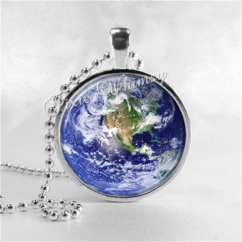 PLANET EARTH NECKLACE Round Glass Bezel Pendant with Free 24 Inch Necklace Chain
