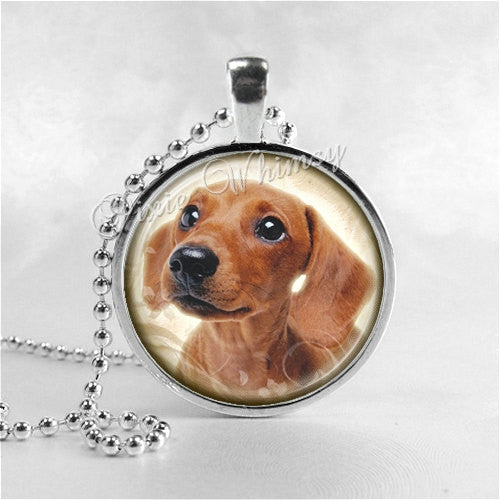 DACHSHUND DOG JEWELRY Glass Bezel Pendant with Free 24 Inch Necklace Chain