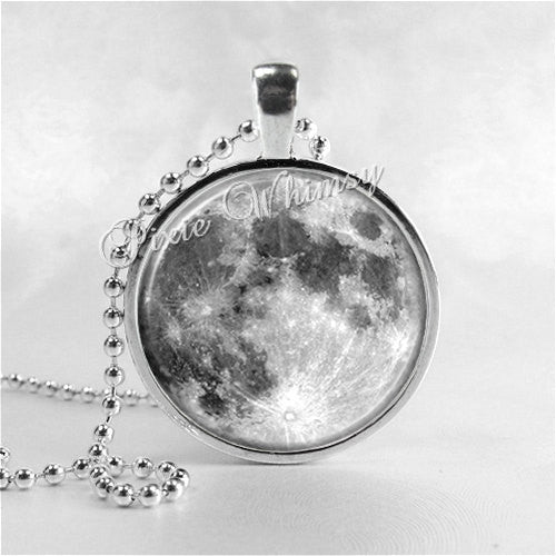 FULL MOON Necklace, Full Moon Jewelry, Glass Photo Art Pendant, Space, Galaxy, Outer Space, Space Jewelry, Galaxy Jewelry, Astronomy