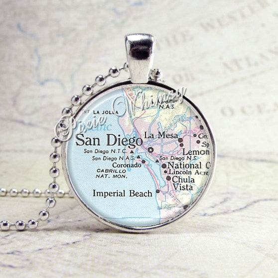 SAN DIEGO CALIFORNIA Vintage Map Jewelry Glass Bezel Pendant with Free 24 Inch Necklace Chain