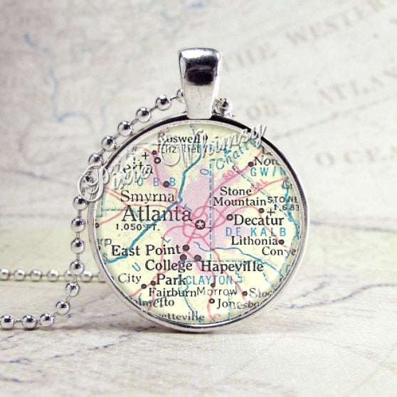 ATLANTA GEORGIA Necklace, Vintage Map Jewelry Glass Bezel Pendant, State Map Jewelry, Atlanta Georgia Necklace
