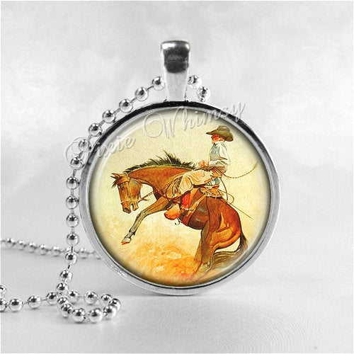 COWBOY JEWELRY, Horse, Western, Glass Bezel Pendant with Free 24 Inch Necklace Chain