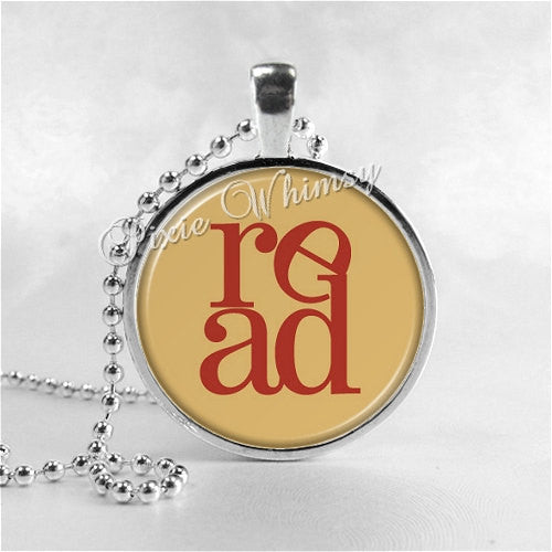 BOOK LOVERS NECKLACE Glass Bezel Pendant with Free 24 Inch Necklace Chain, Motivational Jewelry