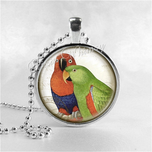 ECLECTUS PARROT NECKLACE Glass Bezel Pendant with Free 24 Inch Necklace Chain