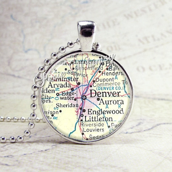 DENVER COLORADO, Aurora, Englewood, Vintage Map Jewelry Glass Bezel Pendant with Free 24 Inch Necklace Chain