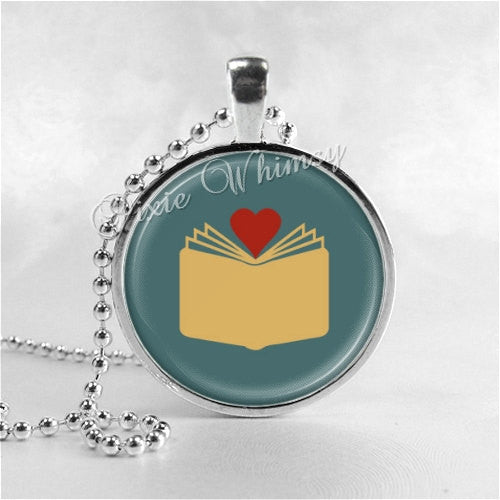 BOOK LOVERS NECKLACE Jewelry Glass Bezel Pendant with Free 24 Inch Necklace Chain, Motivational Jewelry
