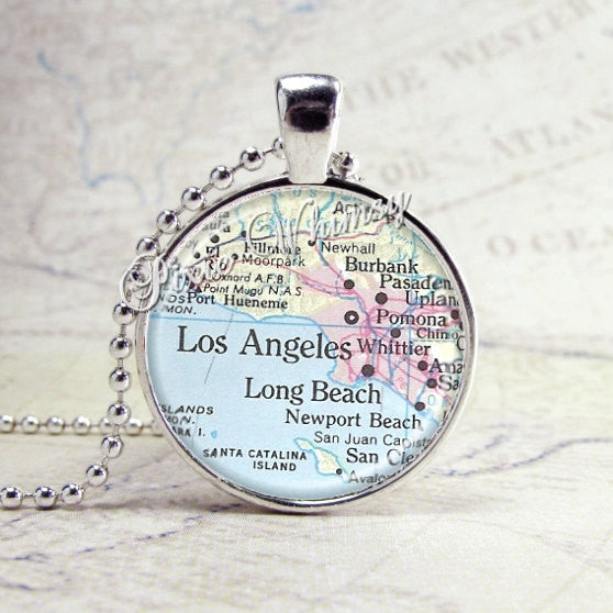 CALIFORNIA MAP Necklace, Los Angeles, Long Beach, California Pendant, California Jewelry, Map Jewelry, Map Necklace, California Pendant, LA