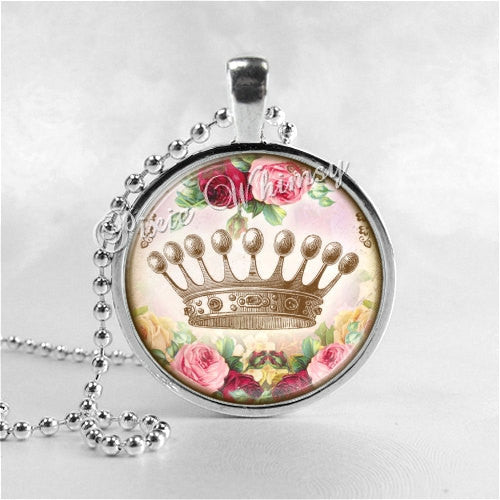 CROWN Necklace, Rose Necklace, Crown Jewelry, Crown Pendant, Crown Charm, Glass Photo Art Pendant