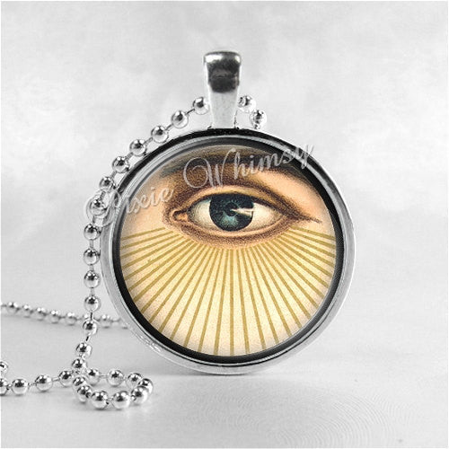 ALL SEEING EYE, Eye of God, Round Glass Bezel Pendant with Free 24 Inch Necklace Chain