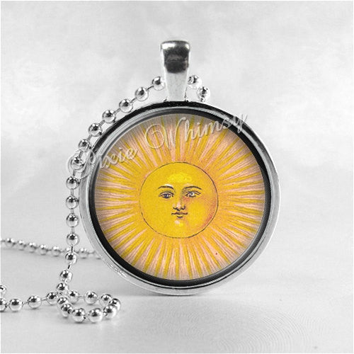 SUN Necklace, Sun Pendant, Celestial Jewelry, Sun Jewelry, Altered Art, Galaxy, Space, Round Glass Bezel Pendant with 24 Inch Necklace Chain