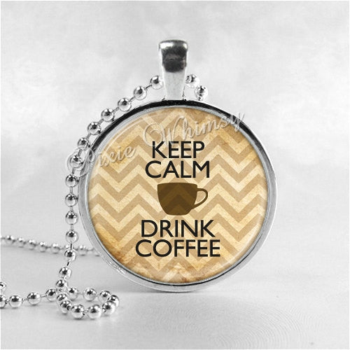 COFFEE LOVERS JEWELRY Keep Calm and Drink Coffee Round Glass Bezel Pendant with Free 24 Inch Necklace Chain, Motivational Jewelry