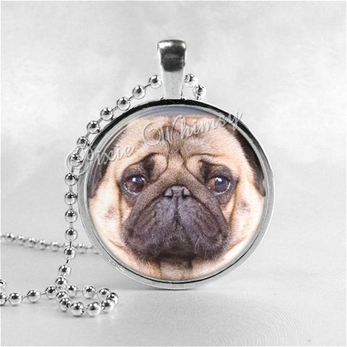 PUG DOG Jewelry Round Glass Bezel Pendant with Free 24 Inch Necklace Chain