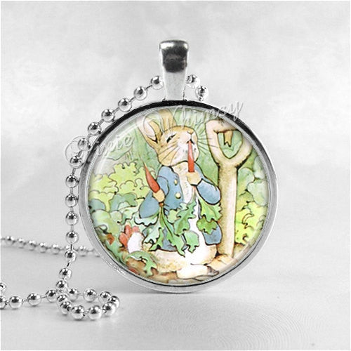 RABBIT Jewelry Round Glass Bezel Pendant with Free 24 Inch Necklace Chain