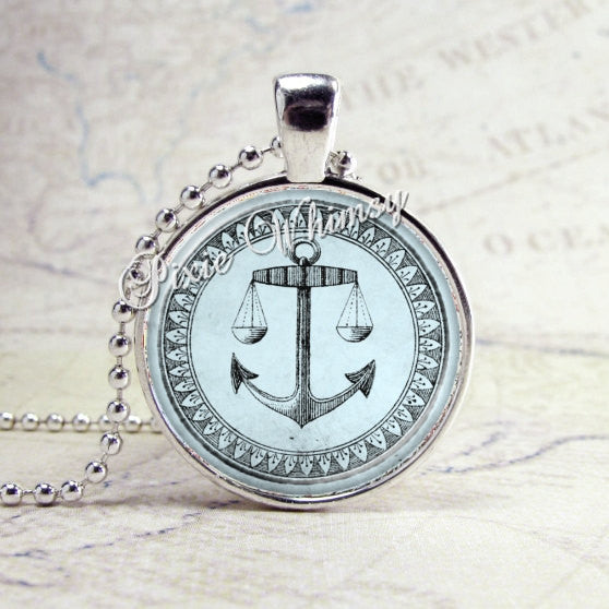 ANCHOR NAUTICAL BLUE Jewelry Glass Tile Art Pendant Bezel Necklace with Free 24 Inch Chain