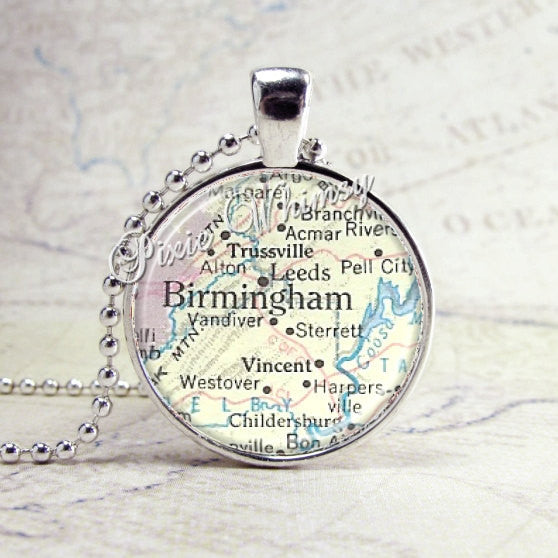 BIRMINGHAM ALABAMA Vintage Map Jewelry Glass Tile Art Pendant Bezel Necklace with Free 24 Inch Chain