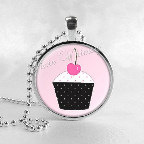 CUPCAKE NECKLACE Jewelry Glass Tile Art Pendant Bezel Necklace with Free 24 Inch Chain