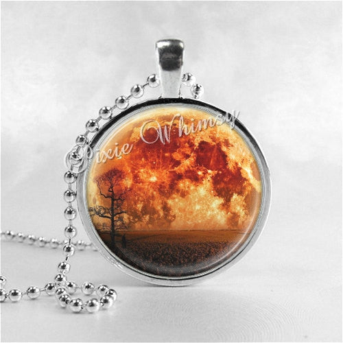 Harvest Moon Necklace Art Pendant Jewelry with Ball Chain, Orange Moon