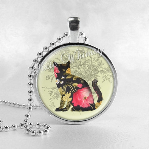 CAT Necklace, Cat Pendant, Cat Jewelry, Kitten Necklace, Kitten Pendant, Cat Art Collage, Flower Print, Floral Necklace, Flower Jewelry
