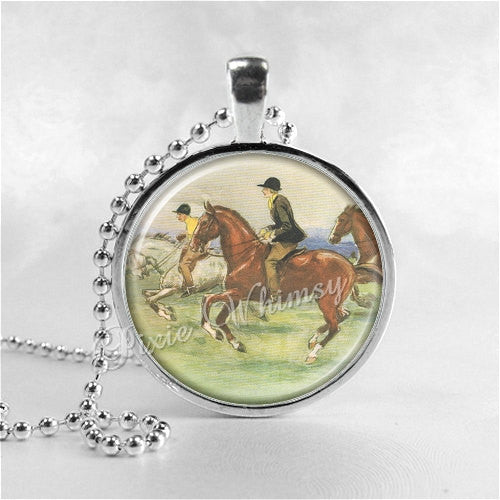 HORSE RACING EQUESTRIAN Jewelry Glass Tile Art Pendant Bezel Necklace with Free 24 Inch Chain