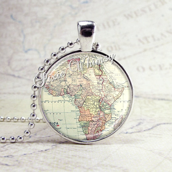 Africa Map Necklace Art Pendant Jewelry with Ball Chain