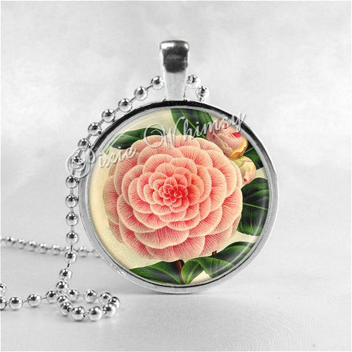 Camellia Flower Necklace Art Pendant Jewelry with Ball Chain