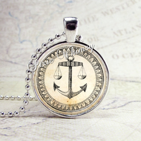 Anchor Necklace Art Pendant Jewelry with Ball Chain, Nautical Theme