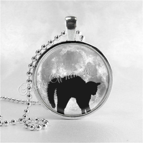 Black Cat Full Moon Necklace Art Pendant Jewelry with Ball Chain