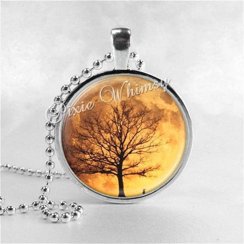 Harvest Moon Necklace Art Pendant Jewelry with Ball Chain, Tree Necklace