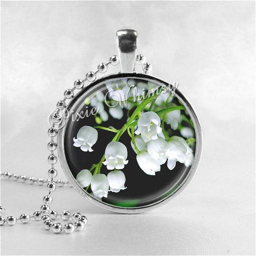 Lily of the Valley Necklace Art Pendant Jewelry with Ball Chain, Flower Jewelry