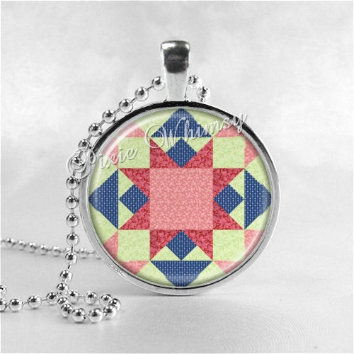 Quilt Necklace Art Pendant Jewelry with Ball Chain, Vintage Quilt Square Block