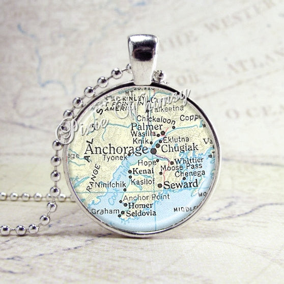 Anchorage Alaska Map Necklace Art Pendant Jewelry with Ball Chain