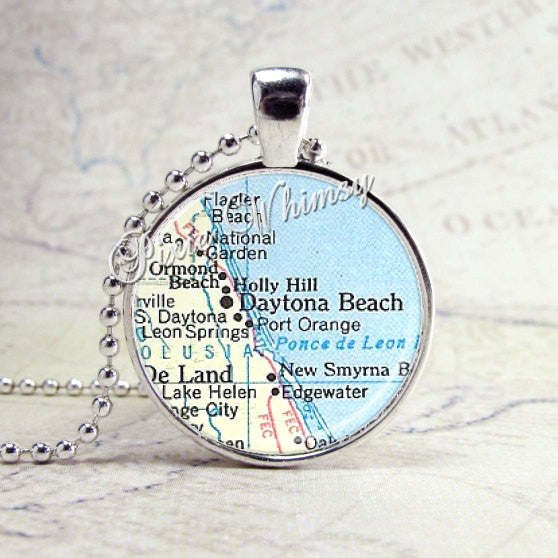 Daytona Beach Florida Map Necklace Art Pendant Jewelry with Ball Chain