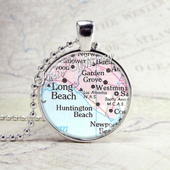 Long Beach California Map Necklace Art Pendant Jewelry with Ball Chain