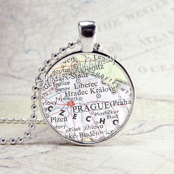 Prague Czechoslovakia Map Necklace Art Pendant Jewelry with Ball Chain
