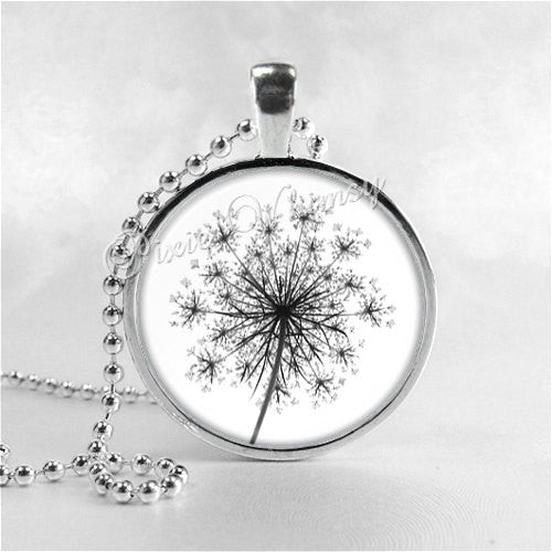 Queen Anne's Lace Necklace Art Pendant Jewelry with Ball Chain, Flower Necklace