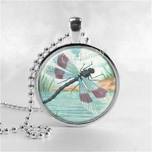 Dragonfly Necklace Art Pendant Jewelry with Ball Chain, Insect, Dragonfly Jewelry