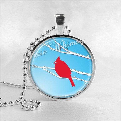 Cardinal Bird Necklace Art Pendant Jewelry with Ball Chain, Cardinal Jewelry, Red Bird
