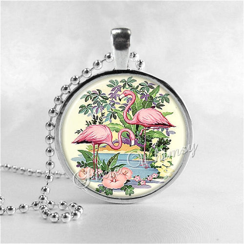 Flamingo Necklace Art Pendant Jewelry with Ball Chain, Tropical Bird, Pink Flamingos