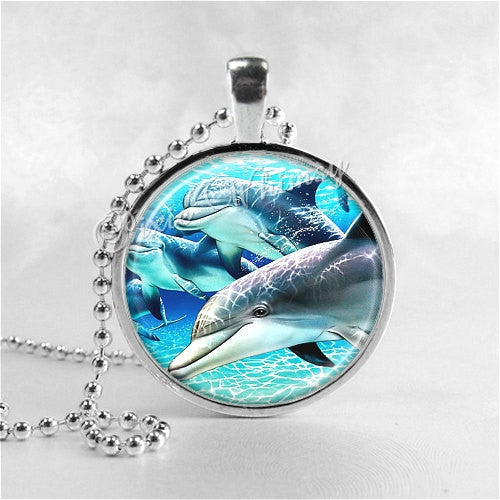 Dolphin Necklace Art Pendant Jewelry with Ball Chain