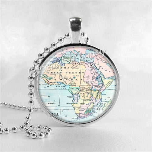 Africa Map Necklace Art Pendant Jewelry with Ball Chain, Vintage Map Jewelry