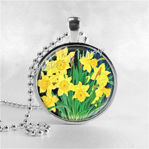 Daffodil Necklace Art Pendant Jewelry with Ball Chain, Flower Necklace