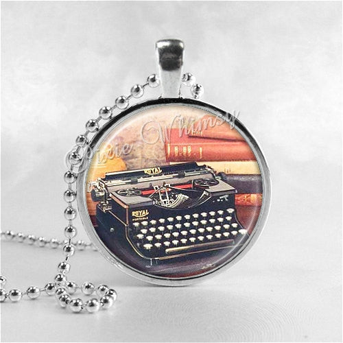 Typewriter Necklace Art Pendant Jewelry with Ball Chain, Vintage Typewriter and Books, Jewelry for Writers