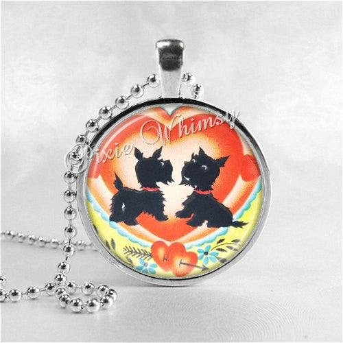 Scotty Dog Necklace Art Pendant Jewelry with Ball Chain, Scottish Terrier Jewelry, Scottie Dog