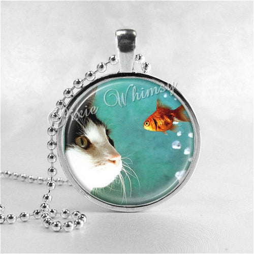 Cat Necklace Art Pendant Jewelry with Ball Chain, Cat Watching Fish, Cat Jewelry
