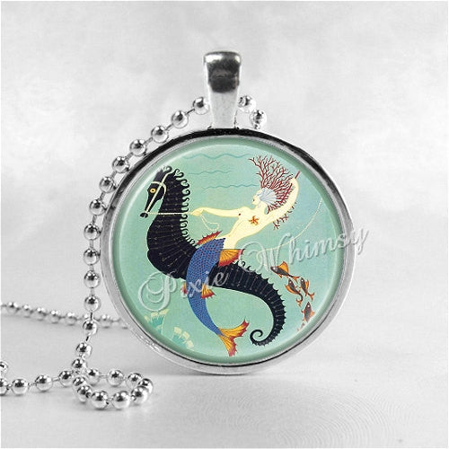 Mermaid and Seahorse Necklace Art Pendant Jewelry with Ball Chain, Art Deco Jewelry