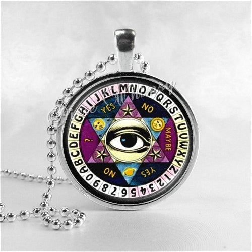 Ouija Board Necklace Art Pendant Jewelry with Ball Chain, Ouija Eye Metaphysical Spiritual Occult Ghost Spirits