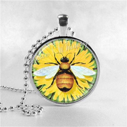 Bee Necklace Art Pendant Jewelry with Ball Chain, Honey Bee Jewelry, Insect, Sunflower