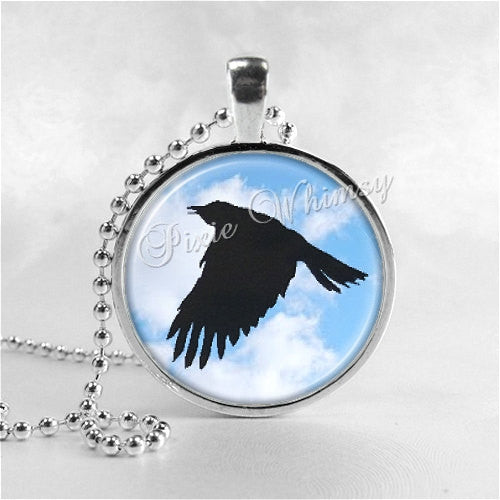 Raven Necklace Art Pendant Jewelry with Ball Chain, Bird In Flight, Crow, Black Bird